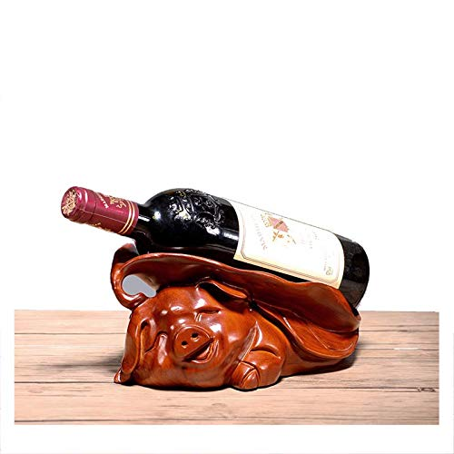 YOLANDE Estante del Vino de Palo de Rosa Adornos Animales Talla de Madera del Zodiaco Cerdo Caoba Bandeja de Vino Bastidor de UVA de Madera Maciza 30 * 15 * 12 cm