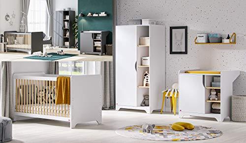 Babyzimmer Kinderzimmer komplett Set LEXY weiß grafit Schrank Kommode Bett (Grafit)