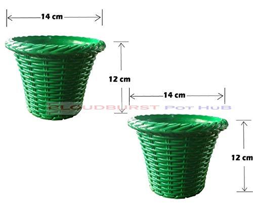 CLOUDBURST Bamboo Plastic Gamla/Pot for Garden, Balcony Flowering (Hight 12cm,Width 14cm :: Dark Green) - Pack of 2