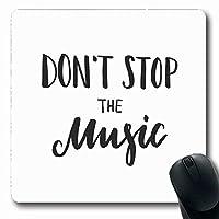 マウスパッドあいさつ引用止めない抽象音楽レターサウンドワードブラックブラシデザイングレート長方形7.9 X 9.5インチ滑り止めゲーミングマウスパッドラバー長方形マット