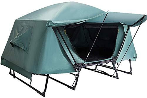 FEOPW Winter-Zelt Oxford im Freienzelt Leinwand Doppelteleskop Boden Camping-Zelt Doppel Angeln Wind und Regen wasserdichte Haube-Zelt (Color : Green)