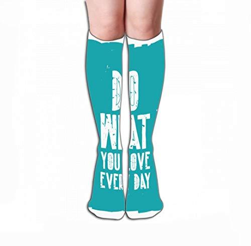 Mannen Vrouwen Outdoor Sport Hoge Sokken Stocking quote poster doen wat je elke dag typografische achtergrond ontwerp Tegel lengte 19.7