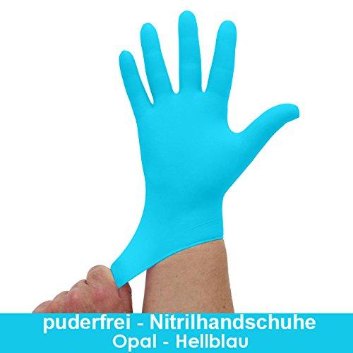 Nitrilhandschuhe Hellblau, Opal, Blaue Einmalhandschuhe, Einweghandschuhe, 100 Stück, Größe M