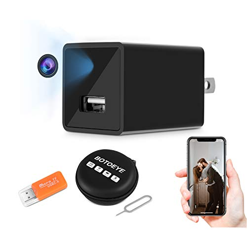 Hidden Camera, Home Security Camera with WiFi, 1080P HD Wireless IP Surveillance Camera with 110° Wide-Angle Lens, USB Wall Charger Nanny Cam with Activity Detection, Remote Monitor with Phone App