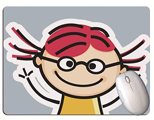 Alfombrilla De Ratón Para Juegos, Linda Chica De Dibujos Animados De Pelo Rojo, Fondo De Color Sólido, Goma Duradera, Alfombrilla De Ratón Para Juegos De Oficina