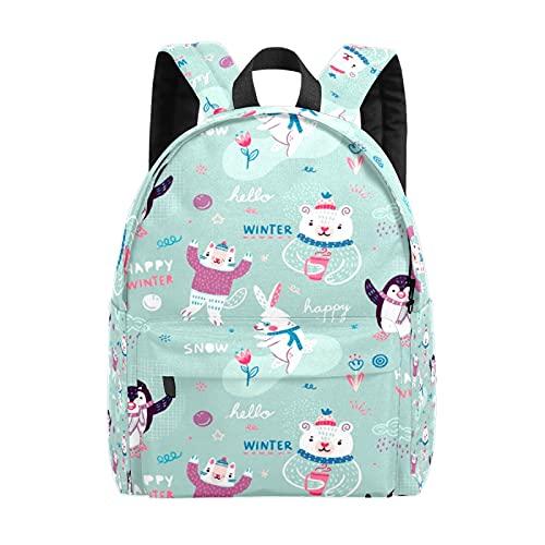 Cartoon Penguin Bear Rabbit Colorful Doodle Animals Leisure Backpack,One Size