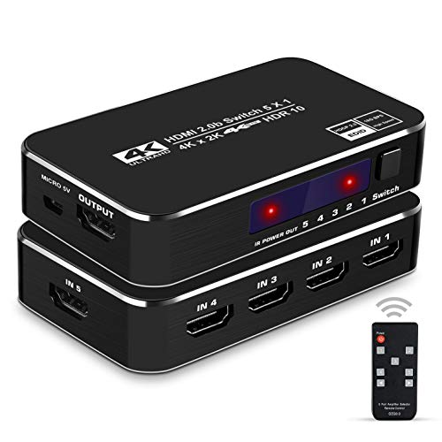 avedio links HDMI 2.0b Switch 5x1 with IR Remote,4K@60Hz 5 Port HDMI Switcher 5 in 1 Out, Supports HDCP 2.2,UHD,HDR,Full HD,3D,1080P,for Xbox PS3 DVD HDTV Projector (Black)