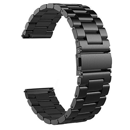 WATORY Amazfit GTS/GTS 2 / GTS 2 Mini/GTS 2e Armband, Quick Release Solider Edelstahl Ersatz Band Uhrenarmband Armbands für Amazfit Bip/Bip lite, Amazfit GTR42mm, Schwarz