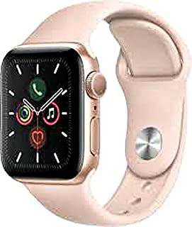 Apple Watch Series 5 (GPS + Cellular, 44MM) - Gold Stainless Steel Case with Pink Sport Band (Renewed)