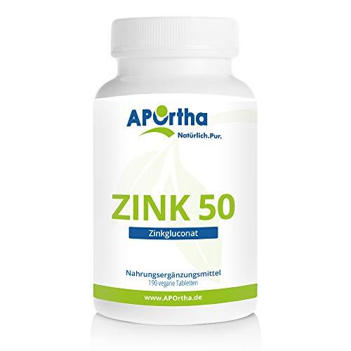 APOrtha Zink hochdosiert als Tabletten 190 Stück Jahresvorrat I hochwertiges Zinkgluconat I Zink 50mg pro Tablette Zink bioverfügbar I Zink Tabletten hochdosiert Alternative zu Zink Kapseln
