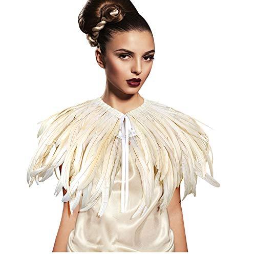 keland Collana di Colletto di Scialle con Coprispalle di Piume in Stile Gotico. Spalline in Costume di Halloween (Beige-B)