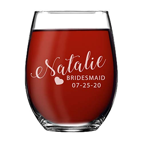 Monogrammed Personalized Stemless Wine Glasses for Bridesmaid, Engraved Customized