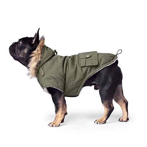 Canada Pooch | Alaskan Army Dog Parka | Sherpa-Lined Hooded Dog Coat | Army Green