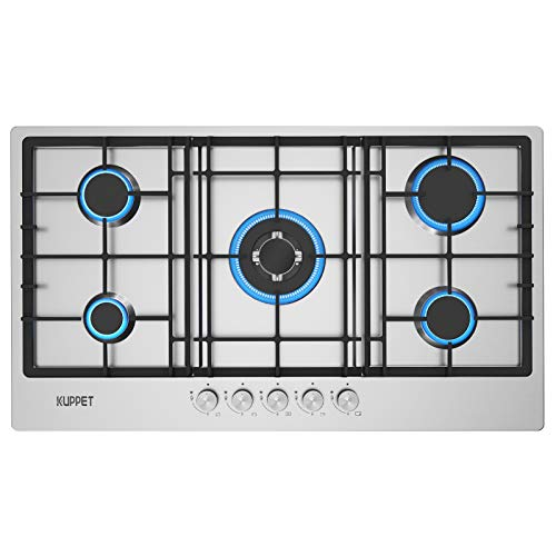 36 Inch Gas Cooktop, KUPPET QM5711 Gas Stove Cooktop with 5 Italy Sabaf Sealed Burners, Stainless Steel Cooktop Gas Hob, NG/LPG Convertible ETL Certified