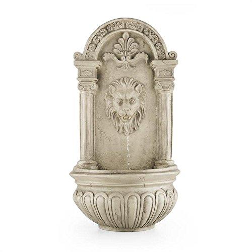 Blumfeldt Löwenstein - Fuente de Pared, Fuente de jardín Ornamental, Decorativa, Panel Solar y Batería Recargable: 2000 mAh, Diseño Antiguo, Sensor de luz, Gris