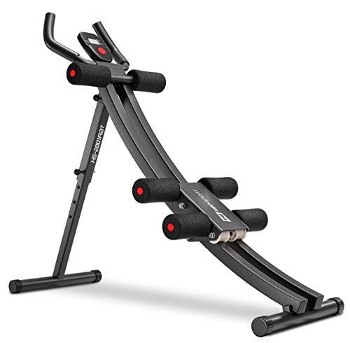 Hop-Sport Rückentrainer & Bauchtrainer mit Knieauflage - klappbares Fitnessgerät für Zuhause mit Trainingscomuputer
