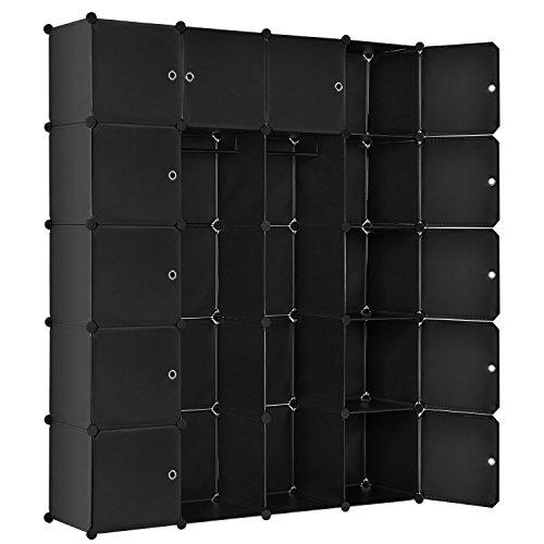 Juskys DIY Regalsystem aus 20 Boxen inkl. 2 Kleiderstangen | 12 Fächer mit Tür | 10 kg pro Box | Kunststoff | schwarz | Schrank Garderobe Garderobenschrank