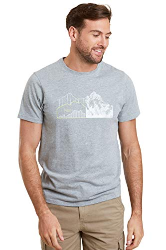 Mountain Warehouse Tri Linear Herren-T-Shirt – leichtes T-Shirt, kuscheliges Top, pflegeleichtes T-Shirt – ideal für Reisen, Sport, Outdoor, Camping Grau XL