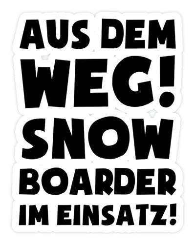 shirt-o-magic Aufkleber Snowboard: Snowboarder im Einsatz! - Sticker - 20x20cm - Weiß