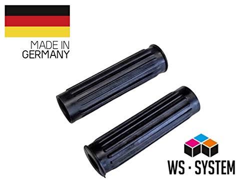 WS · SYSTEM 2 Stück Universal Fahrradgriff | Kinderfahrrad | Lenker | Griff | Gummi | 19 mm | Schwarz