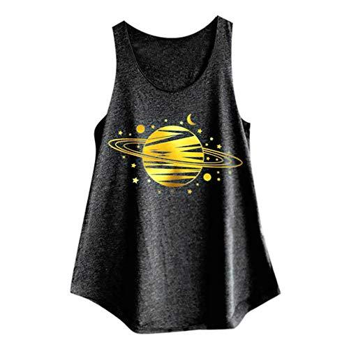 Buby Oberteil Bluse Shirts Damen Sommer Rundhals Ärmellos Blumendruck Baumwolle Große Größe T-Shirt Tunika Tanktops für Damen