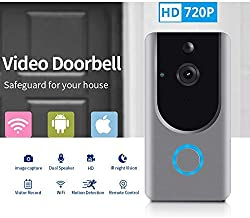 Smart Wireless WiFi Video Doorbell HD Security Camera with PIR Motion Detection Night Vision Two-Way Talk and Real-time Video Suitable etc … (Grey) (Video Door Bell)