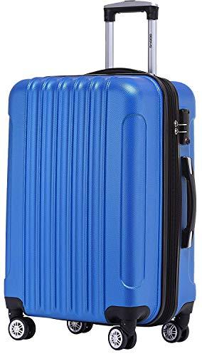 BEIBYE TSA Schloß 2050 Hartschale Trolley Koffer Reisekoffer in M-L-XL-Set (Diamond Blau, 66cm)