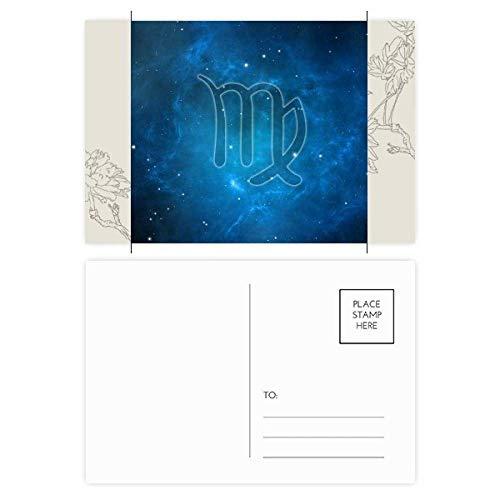DIYthinker Starry Night Virgo Zodiac sterrenbeeld Bloem Postkaart Set Thanks Card Mailing Side 20 stks 5.7 inch x 3.8 inch Multi kleuren