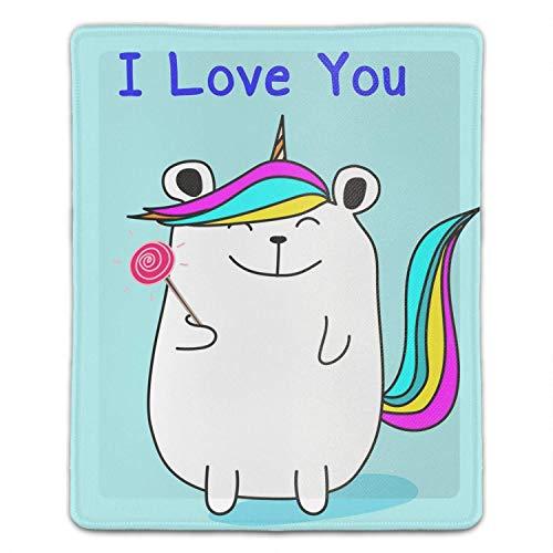 Bear Unicorn I Love You Mauskarten-Pad mit rutschfester Basis, wasserdichter Matte für Desktop, Laptop, Tastatur, präzises und reibungsloses Bedienungserlebnis