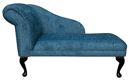 "45"" Chaise Longue - Chair Seat - Premium Presto Teal Chenille Fabric - Left Facing With Queen Anne Legs"