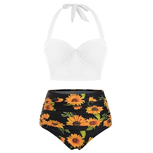 Lazzboy Bikini Set Frauen Blumendruck Crop Tops Mit Hoher Taille + Shorts Zweiteilige Badebekleidung Halfter Tankini Damen Retro Stil Badeanzug(Weiß,5XL)