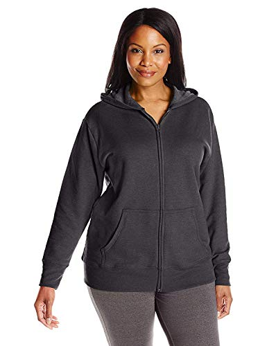 JUST MY SIZE womens Plus-size Full Zip Fleece Hoodie athletic warm up and track jackets, Ebony, XX-Large US