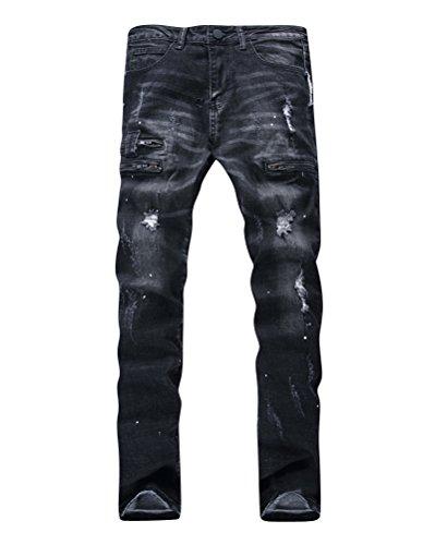 Herren Distressed Denim Hose Klassisc 5 Tasche Ripped Beiläufig Jeanshose Schwarz 30