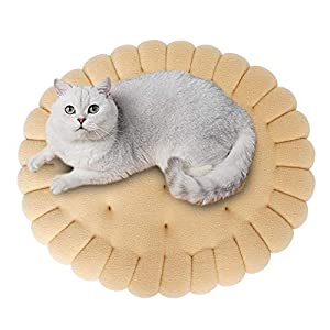 Tofern Cat and Dog Cushion Biscuit-Shape Plush Cozy Warm Pet Bed Cute Mattress All Season