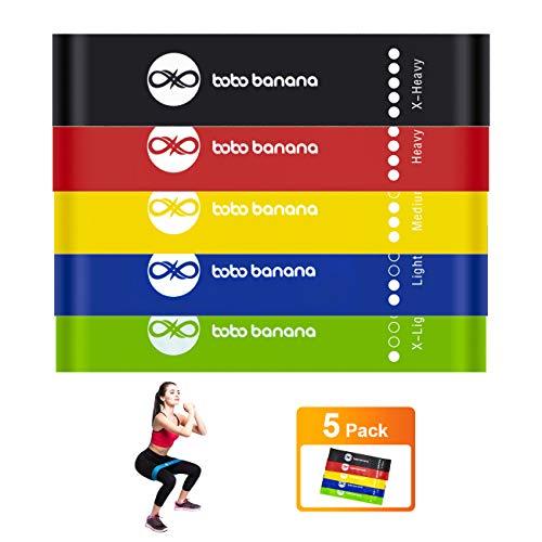 bobo banana Widerstandsbänder, Übungsbänder[Set von 5] Widerstandsbändern für Beine und Gesäß, Fitness-Übungsbänder mit 5 verschiedenen Widerstandsstufen. Fitnessgeräte zu Hause, Yoga und Training.