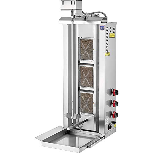 BEST INDUSTRIAL - AUTOMATIC ROTATING FULL SET - Meat Capacity:35 kg./ 77 lb. NATURAL GAS 3 BURNER Vertical Broiler Commercial/Home use Shawarma Gyro Doner Kebab Tacos Al Pastor Grill Trompo Machine