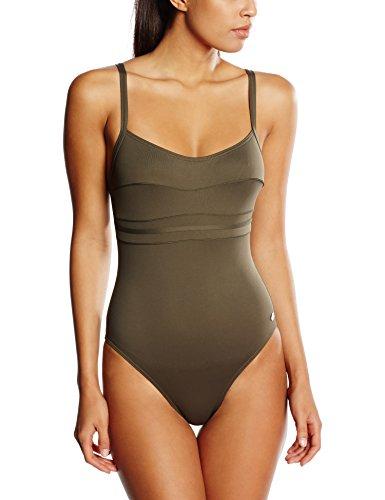 Haute pression A1001 - Maillot de bain une pièce - Uni - Femme - Vert (Kaki), 40 (Taille faricant: 40)