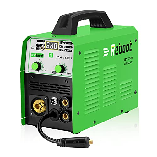 Reboot MIG Welder Flux Core Stick/Mig/TIG 5 in 1 RBM-1550D Gas/Gasless Welding Machine 110V/220V Solid Wire Spool Gun Available Automatic Feed Inverter for Beginning Welder