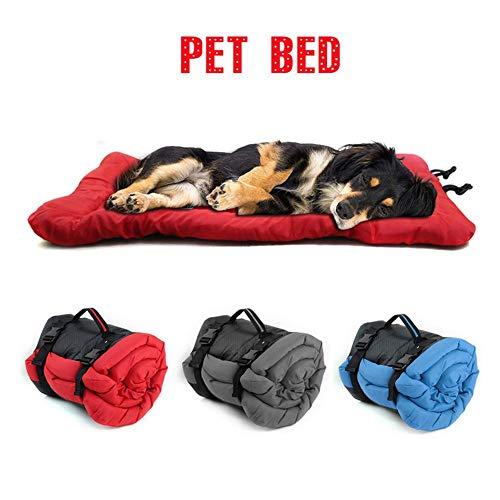 Großes Hundebett für die Reise, tragbares Hundekissen im Freien, faltbar, aufgerollt, wasserdicht, Oxford-Stoff-Pet-Matte für Autositz, Sofa, Möbel, Camping, Picknick, leicht zu tragen, 90 x 60 cm