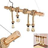 Suspension Etowah en bois brun et cordes en tissus, lampe pendante à hauteur ajustable pour 4 ampoules E27 max. 60 Watt, compatible ampoules LED