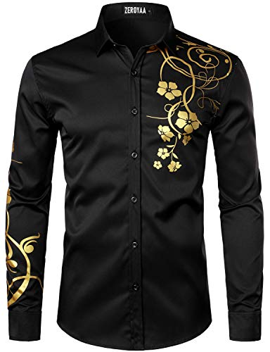 ZEROYAA Men's Hipster Shiny Design Slim Fit Long Sleeve Button Up Party Dress Shirts ZZCL62 Black Medium
