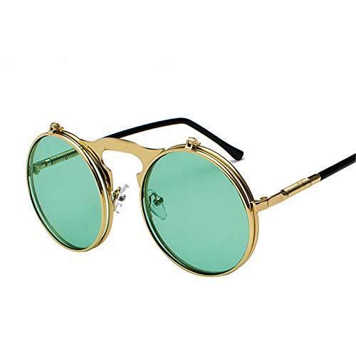 Gafas de Sol Redondas Retro Abatibles hacia Arriba a La Moda Gafas Góticas Vintage Steampunk Lente Nueva, Gafas de Sol Abatibles Redondas Vintage C9