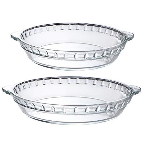 MDLUU Glass Baking Pan 9-Inch & 10-Inch, Easy Grab Pie Pan, Pie Plate with Handles, Pie Baking Dish for Apple Pie, Pumpkin Pie, Quiche, Set of 2