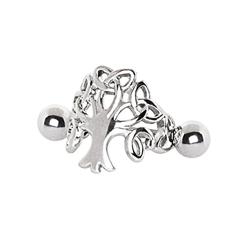 Pierced Owl Tree of Life Cartilage Cuff Earring in 316L Stainless Steel