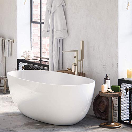 MAYKKE Barnet 61' Acrylic Bathtub Retains Heat White Modern Oval Freestanding Comfortable Soaking Tub in Bathroom Lavatory, Shower cUPC certified, Drain & Overflow Assembly Included XDA1407001