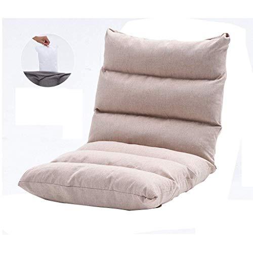 Taburetes de bar Silla de piso de usos múltiples, Tatami Lazy Sofa Almohadilla de ventana plegable Wave Sofá-camas Sillón reclinable Sillón de lino ajustable de algodón de 6 posiciones Sofá pe