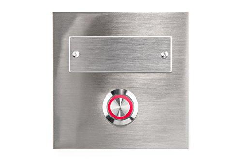 HUBER LED Klingeltaster 12313, 1-fach aufputz/unterputz, quadratisch, Echtmetall, LED Lichtfarbe rot