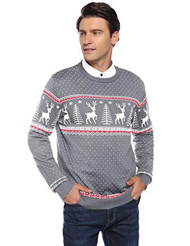 Abollria Herren Weihnachtspullover mit Rentier Schneeflocken Muster Rundhals Langarm Winterpulli Norweger Strickpullover für Winter,Grau,M