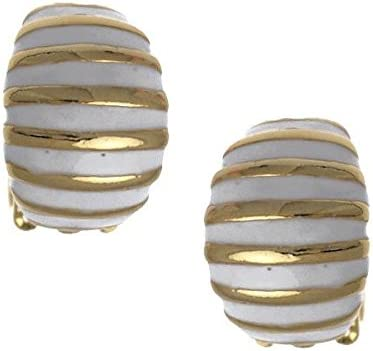 Uliva Gold tone White Clip On Earrings
