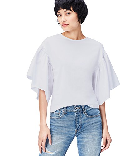 Marca Amazon - find. Camiseta Corta con Cuello Redondo Mujer, Blanco (Weiß), 38, Label: S